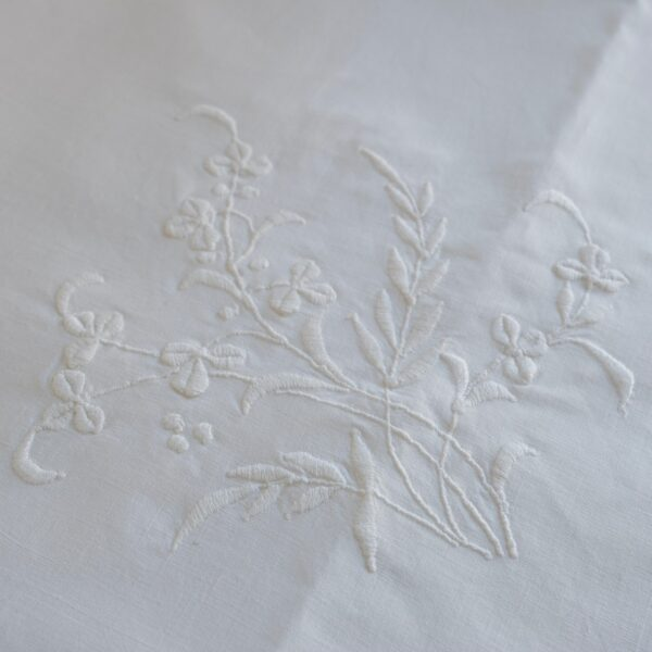 Vintage square tablecloth with whitework